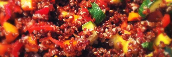 quinoa rossa con dadolata di verdure